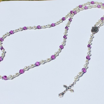Handmade Glass Pearl and Iridescent Magenta Bead Rosary