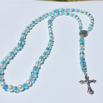 Handmade Glass Pearl and Turquoise Bead Rosary