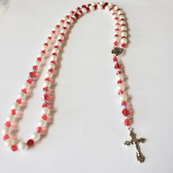 Handmade Glass Pearl and Red Bead Rosary
