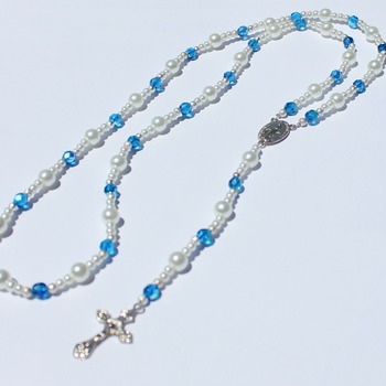 Handmade Iridescent Blue Bead and Glass Pearl Rosary