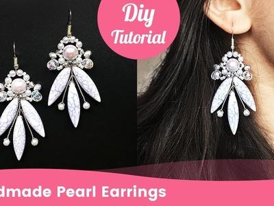 Handmade Pearl Earrings. DIY Wedding Jewelry Making.