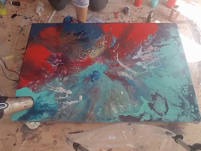 How to do an acrylic pour on a Large canvas using a hairdryer. Second layer demo