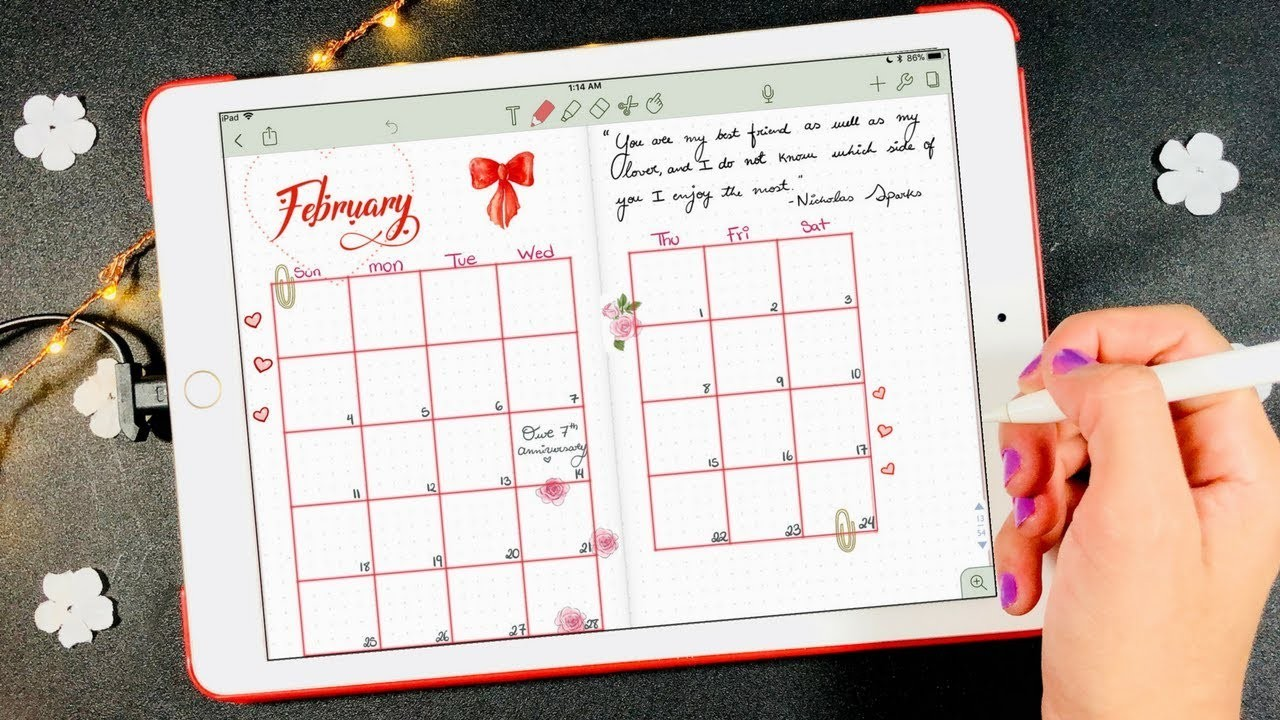 How to Draw a Calendar on Your Digital Planner