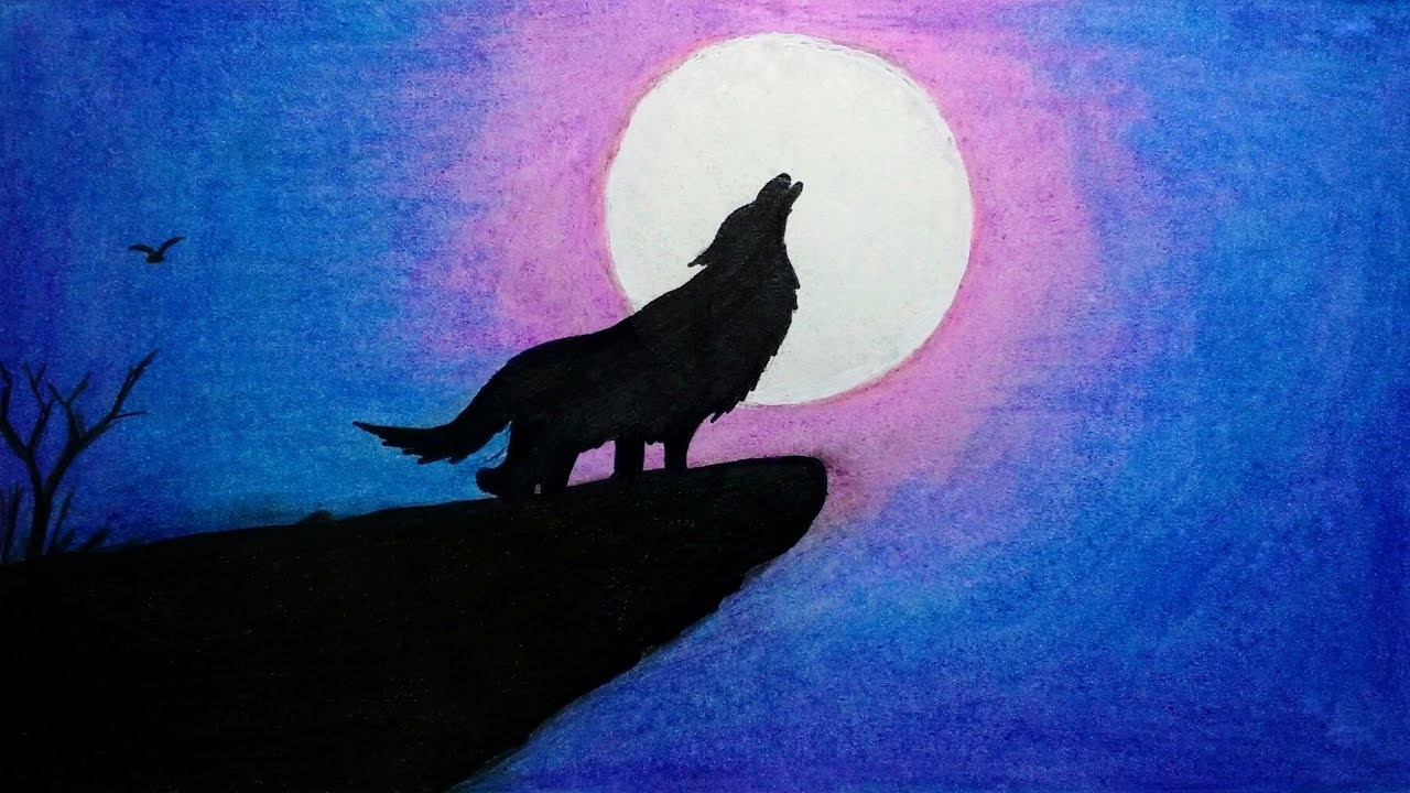 Moonlight Scenery For Beginners With Oil Pastel Step By Step