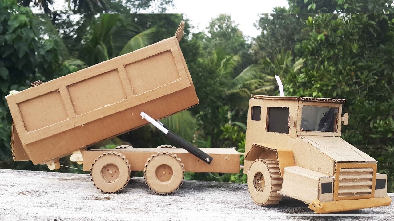 How to Make A dc motor  Dump Truck with Cardboard at Home