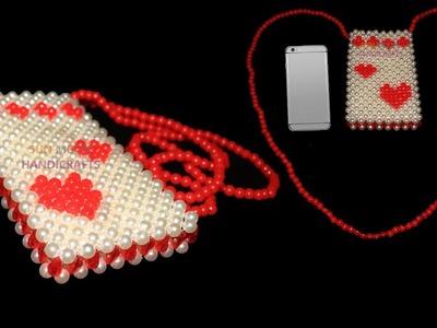 How to make beaded mobile bag. beaded mobile cover. পুতির মোবাইল ব্যাগ