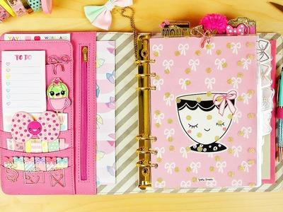 My Spring Planner Setup ft. Happie Scrappie! (Kikki K A5 Pink Planner)