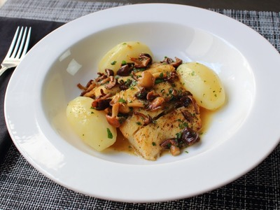 Pan-Roasted Halibut with Mushrooms & Lemon Butter Sauce - Fast & Easy Halibut Recipe