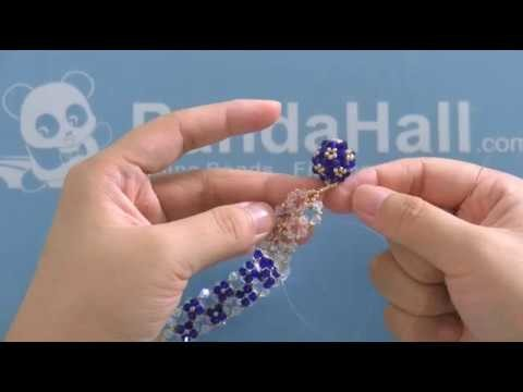 PandaHall Video Tutorial On Making a Bicone Crystal Bracelet with Blue Glass Flower Dotted