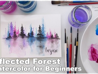 Reflected Forest Watercolor for Beginners ♡ Maremi's Small Art ♡