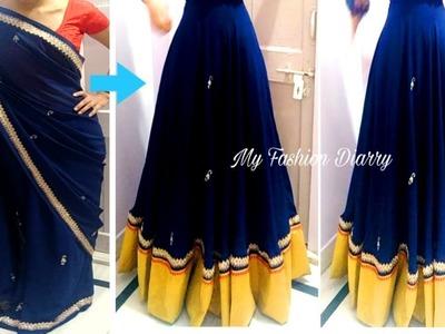 पुरानी साडी से बनाये सुंदर लहंगा.  Convert old saree to beautiful lahnga