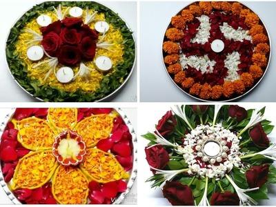 4 ● Decorative Thali Ideas.4 Pooja Thali Decoration. How to Decorate Flower Decoratio Pooja Thali.