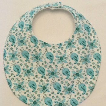 Baby Bib - Drool Bib  - Aqua and White Print  - Handmade
