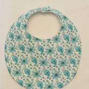 Baby Bib - Drool Bib  - Aqua and White Print  - Handmade