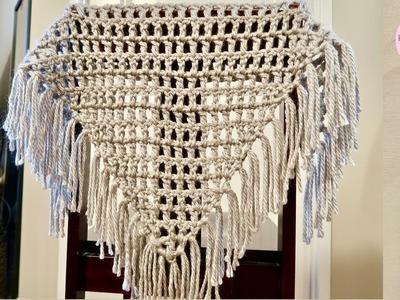 Chal triangular básico a crochet para principiantes, paso a paso (Versión diestra)