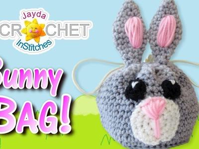 Crochet Bunny Rabbit Drawstring Bag. Sack