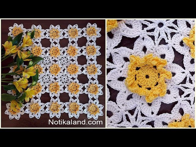 Crochet doily tutorial Crochet doily with flowers Part 2 How to join motifs