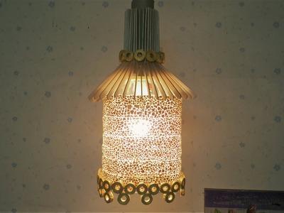 D.I.Y. Lamp from egg shells & plastic bottle & popsicle stick & newspaper