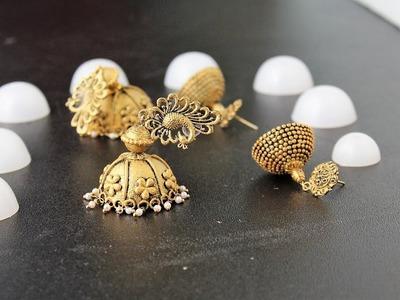 DIY Antique gold jhumka out of Plastic Jhumka Base