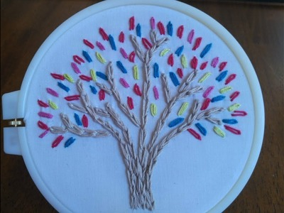 DIY Embroidery Designs for Beginner - How to Embroider a Colorful Tree + Tutorial !