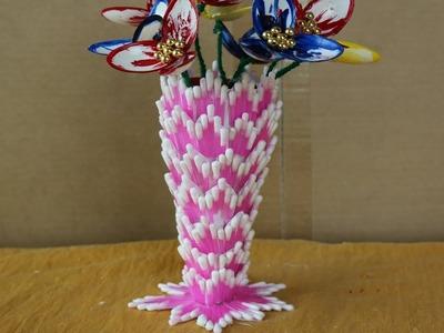 DIY Innovative Ideas Of Flower Vase | How to make flower vase using cotton buds - Craft ideas