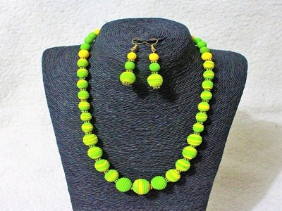 DIY Polymer Clay Green & Yellow Necklace Set Tutorial