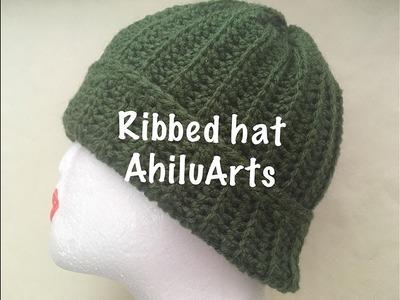 DIY - Tutorial - Ribbed hat - simple hat - easy beanie - crochet - Tamil