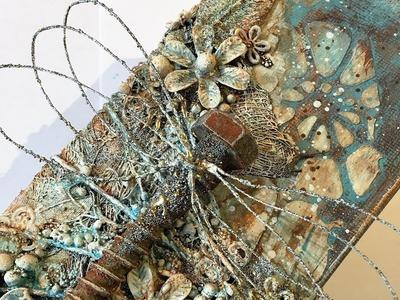 Dragonfly, mixed media canvas - process video