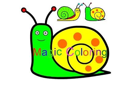 Drawing a Snail   Coloring Art Video for Kids