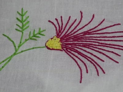 Hand Embroidery : Flower Embroidery : Whipped Back Stitch & French Knot