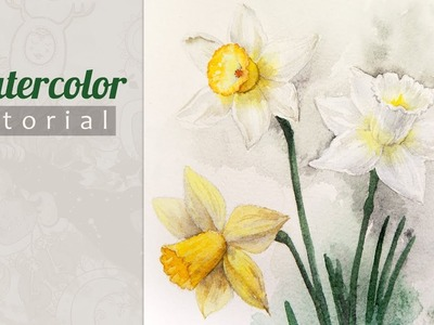 How to Draw a Daffodils (Narcissus) Watercolor. Tutorial.