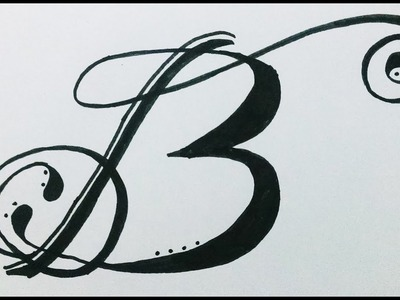 """How to draw.design alphabet """"B"""" in Swirled letter.Fancy letter"""