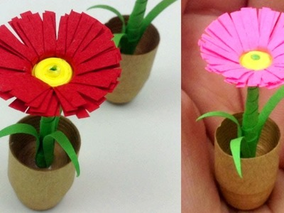Flower diy paper sunflower crafts how to make easy paper how to make 3d flower pot with paper diy quilling mightylinksfo