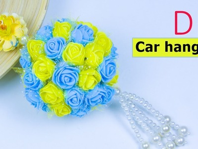 How to make Beautiful flower car hanging at home | DIY project for your car | Beads art