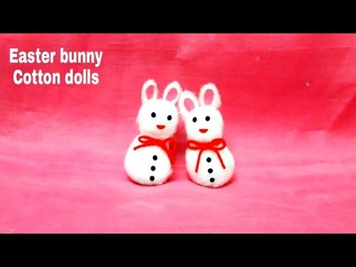 How to make cotton ball Rabbit.#DIY Easter Bunny #cute and easy cotton doll