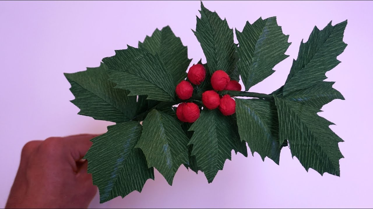 How To Make Holly From Paper Crepe - DIY Paper Tutorial