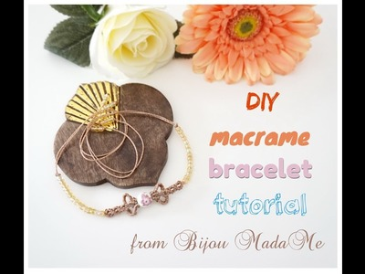 Macrame bracelet tutorial. DIY macrame jewelry. How to make easy macrame bracelet with beads.