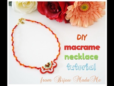 Macrame necklace tutorial.DIY macrame jewelry. How to make colorful macrame necklace.