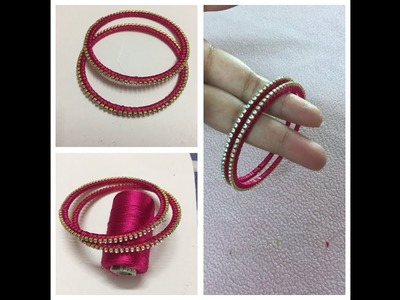 Silk thread stone bangles from old glass bangles.making of silk thread bangle from old glass bangle