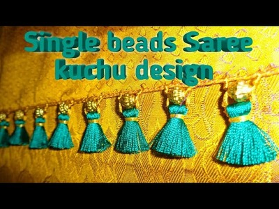Single beaded Saree kuchu. How to make Saree Tassels