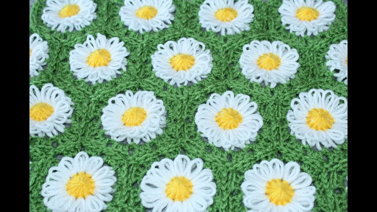 Springtime - Daisy - Blanket - Loom Flower - Bloom Loom - crochet - Part 2 of 2