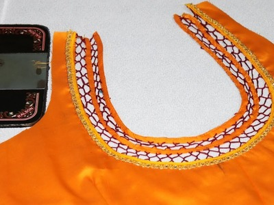 Very Easy Blouse Neck Design with Anchor Thread  Cutting and Stitching