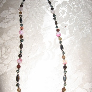 Brand New Bumblebeads Original Handmade Pink Agate Gemstone Pendant Necklace