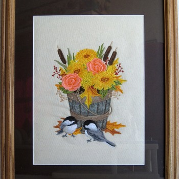 Bucket of flowers w/ chickadees