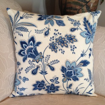 Decorative Pillow Cover - Blue and Light Brown  Floral Print  with Beige Background - Handmade