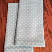 Dinner Napkins  -  Cloth -  Aqua with White Polka Dots  - Eco Friendly - Handmade