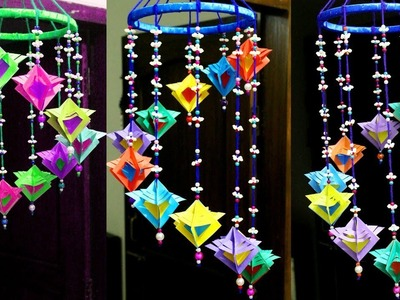 DIY - Handmade paper wind chime - Make paper wall hanging ideas for room decoration - Wind chimes