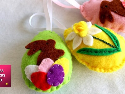 DIY : How to make cute felt Easter egg ornaments. Easter crafts - kids crafts -Part 2
