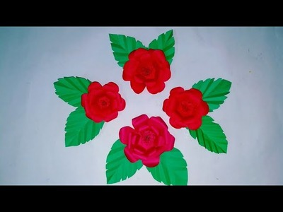 Easy paper flowers with leaves!! Paper flowers. How to make easy paper flowers.By KovaiCraft