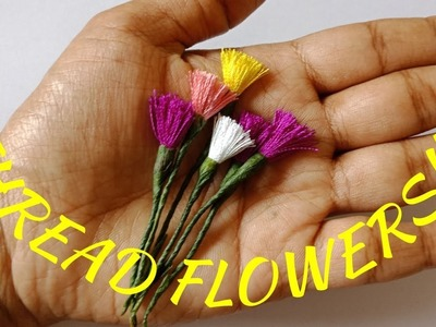 Easy to make vase filler flowers using thread   how to make small wild flowers